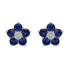 "Sapphire & Diamond ""Astra"" Cluster Earrings"