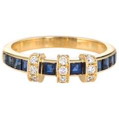 Sapphire Diamond Band Estate 18 Karat Yellow Gold Wedding Stacking Jewelry