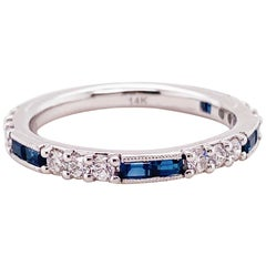 Sapphire Diamond Band Ring Designed in 14 Karat White Gold, Custom