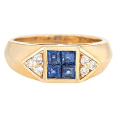 Sapphire Diamond Band Vintage 18 Karat Gold Pinky Ring Estate Fine Jewelry