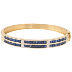 Sapphire Diamond Bangle Bracelet Vintage 18 Karat Gold Estate Fine Jewelry