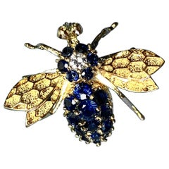 Sapphire Diamond Bee Insect Pendant 14 Karat Gold Estate Necklace