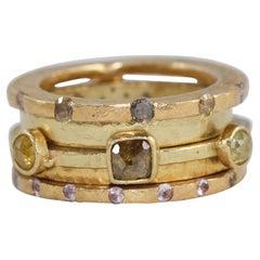 Sapphire Diamond Bridal Wedding Ring in 18 Karat, 22 Karat Gold Bands Stack #6