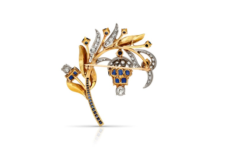 Sapphire Diamond Brooch In Good Condition For Sale In New York, NY