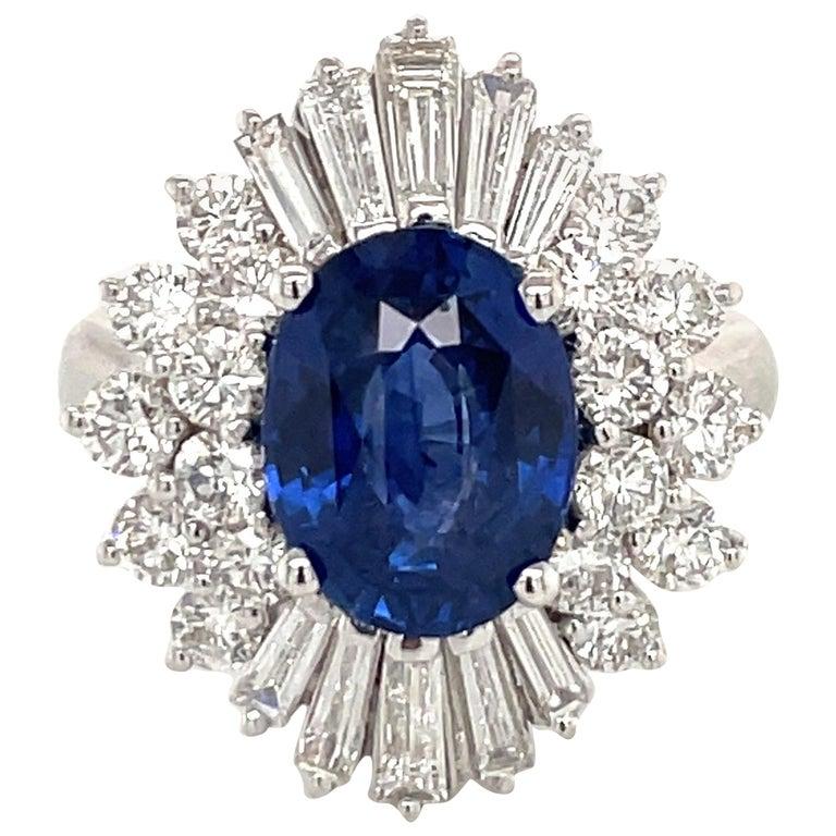 HARBOR D. Sapphire Diamond Cluster Cocktail Ring 7.47 Carat Platinum For Sale