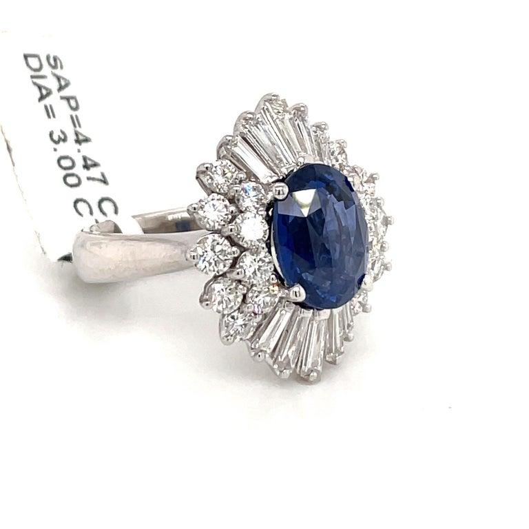 Contemporary HARBOR D. Sapphire Diamond Cluster Cocktail Ring 7.47 Carat Platinum For Sale