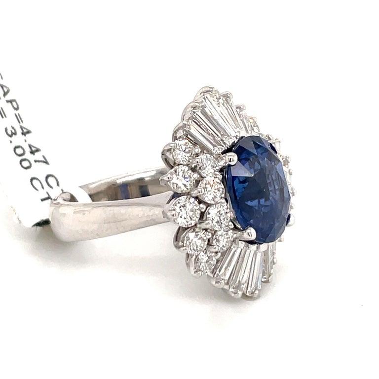 Oval Cut HARBOR D. Sapphire Diamond Cluster Cocktail Ring 7.47 Carat Platinum For Sale