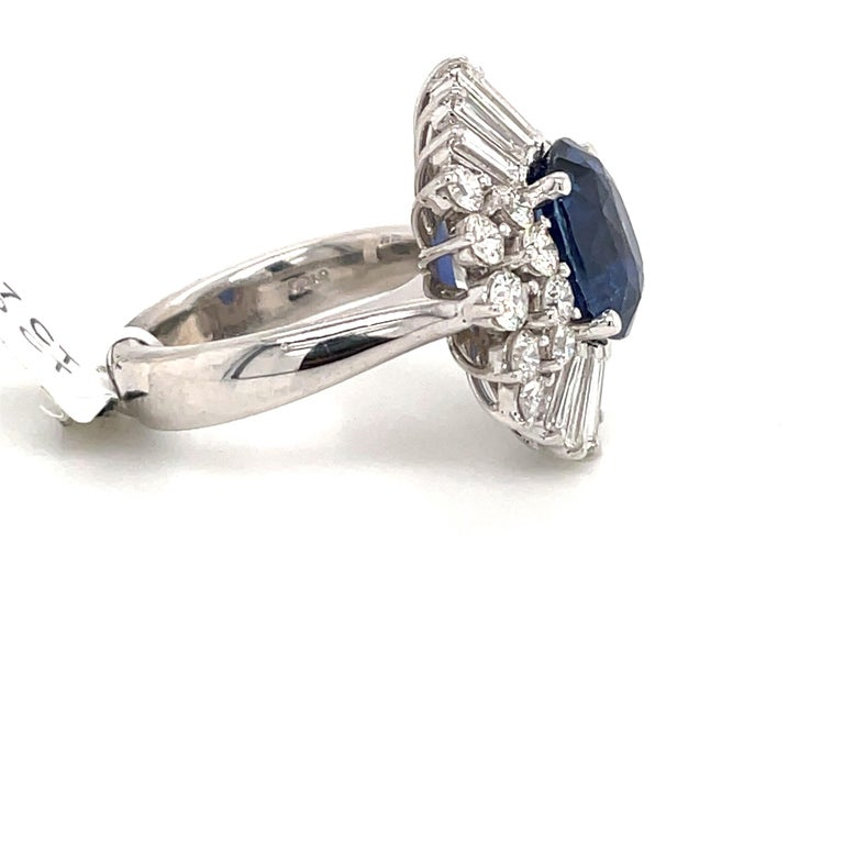 HARBOR D. Sapphire Diamond Cluster Cocktail Ring 7.47 Carat Platinum In New Condition For Sale In New York, NY