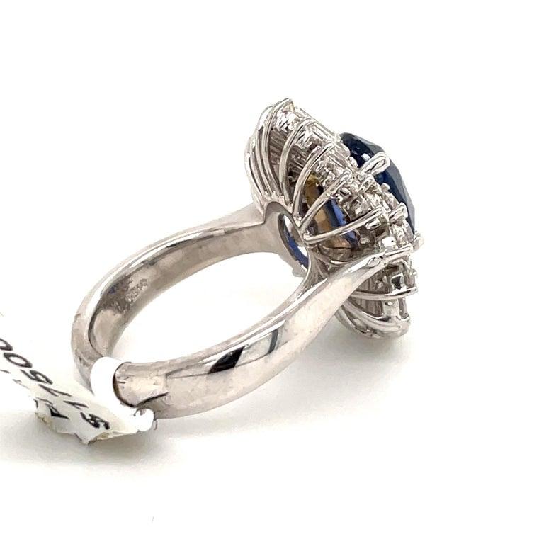 Women's HARBOR D. Sapphire Diamond Cluster Cocktail Ring 7.47 Carat Platinum For Sale