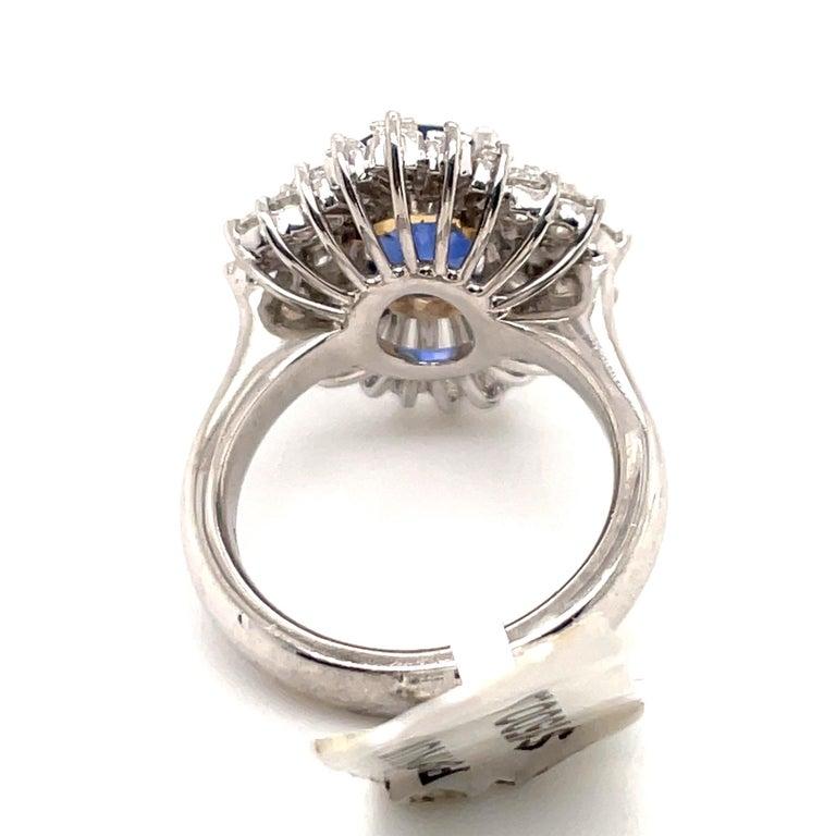 HARBOR D. Sapphire Diamond Cluster Cocktail Ring 7.47 Carat Platinum For Sale 1