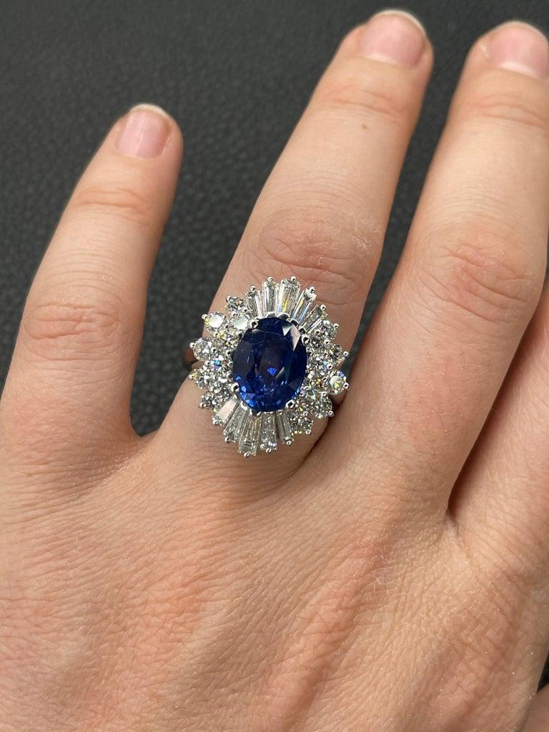 HARBOR D. Sapphire Diamond Cluster Cocktail Ring 7.47 Carat Platinum For Sale 3