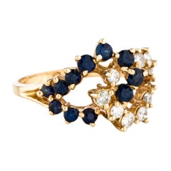 Sapphire Diamond Cluster Cocktail Ring Yellow Gold Vintage Estate Jewelry