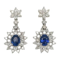 Sapphire Diamond Cluster Drop Earrings 7.05 Carat 18 Karat