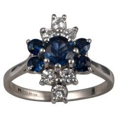Sapphire Diamond Cluster Ring 18 Karat White Gold
