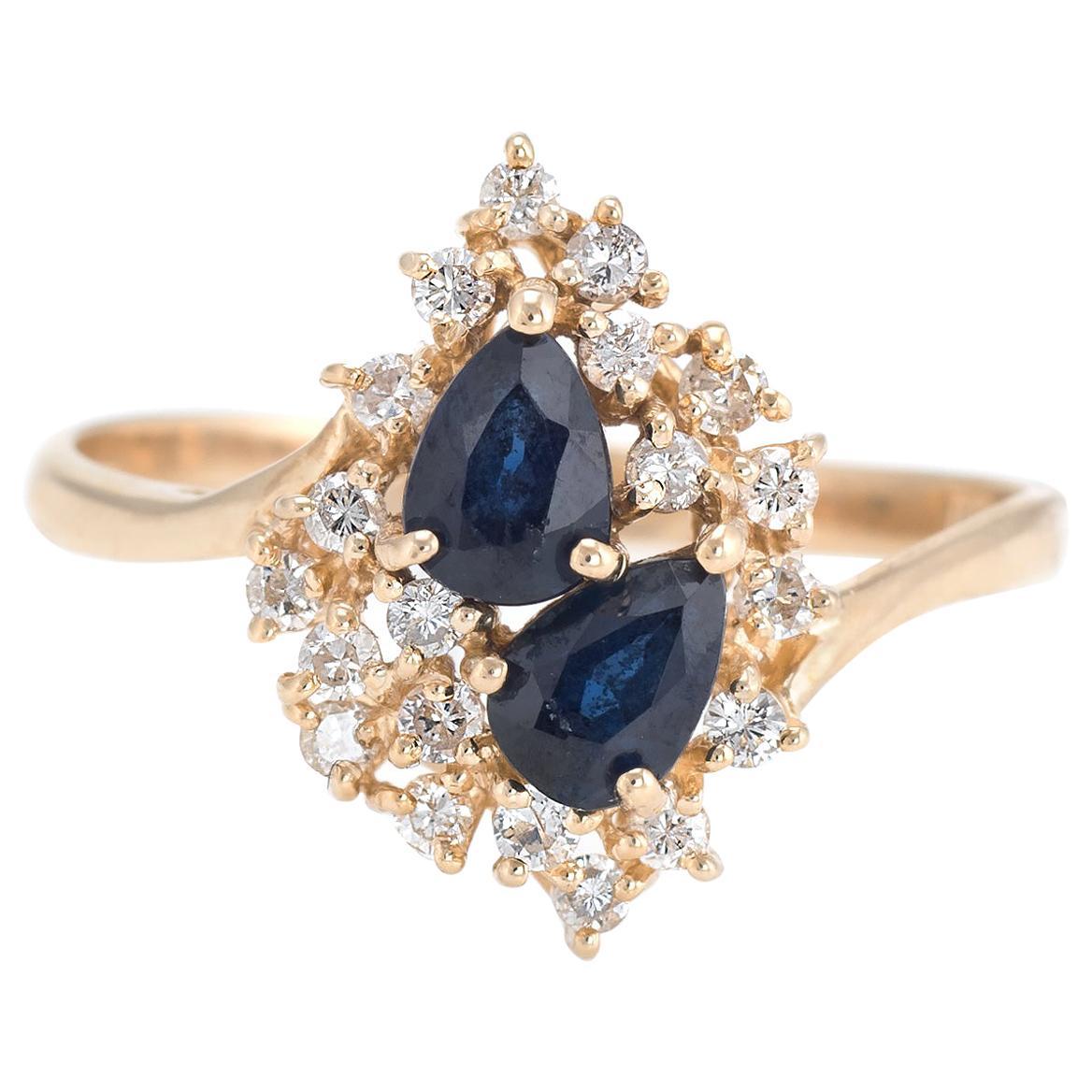 Sapphire Diamond Cluster Ring Vintage 14 Karat Yellow Gold Estate Fine Jewelry