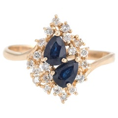 Sapphire Diamond Cluster Ring Vintage 14 Karat Yellow Gold Estate Fine Jewelry