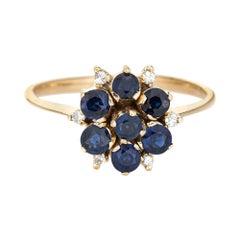 Sapphire Diamond Cluster Ring Vintage 14k Yellow Gold Round Flower Jewelry