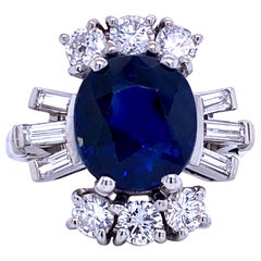 Sapphire Diamond Cocktail Ring 6.52 Carat Platinum