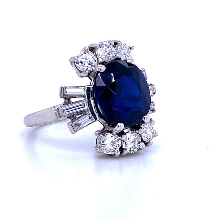 Contemporary Sapphire Diamond Cocktail Ring 6.52 Carat Platinum For Sale