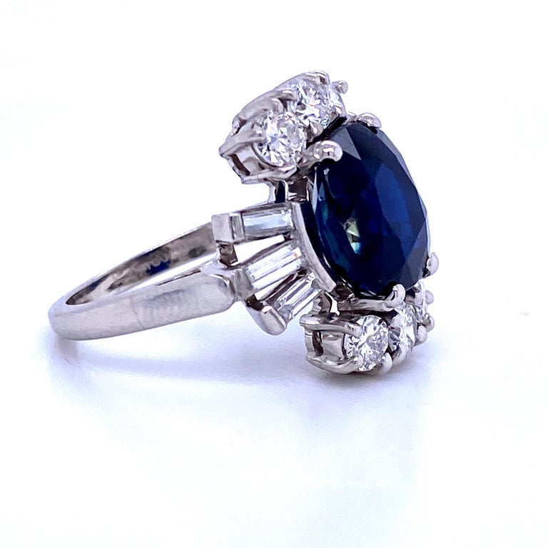 Sapphire Diamond Cocktail Ring 6.52 Carat Platinum In Excellent Condition For Sale In New York, NY