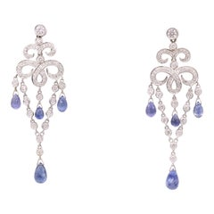 Sapphire Diamond Deco Inspired Drop Earrings 7.71 Carat 18 Karat White Gold