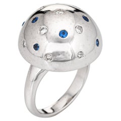 Sapphire Diamond Dome Ring Vintage 14k White Gold Orb Cocktail Jewelry