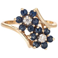 Sapphire Diamond Double Flower Ring Toi Et Moi 10 Karat Gold Vintage Jewelry