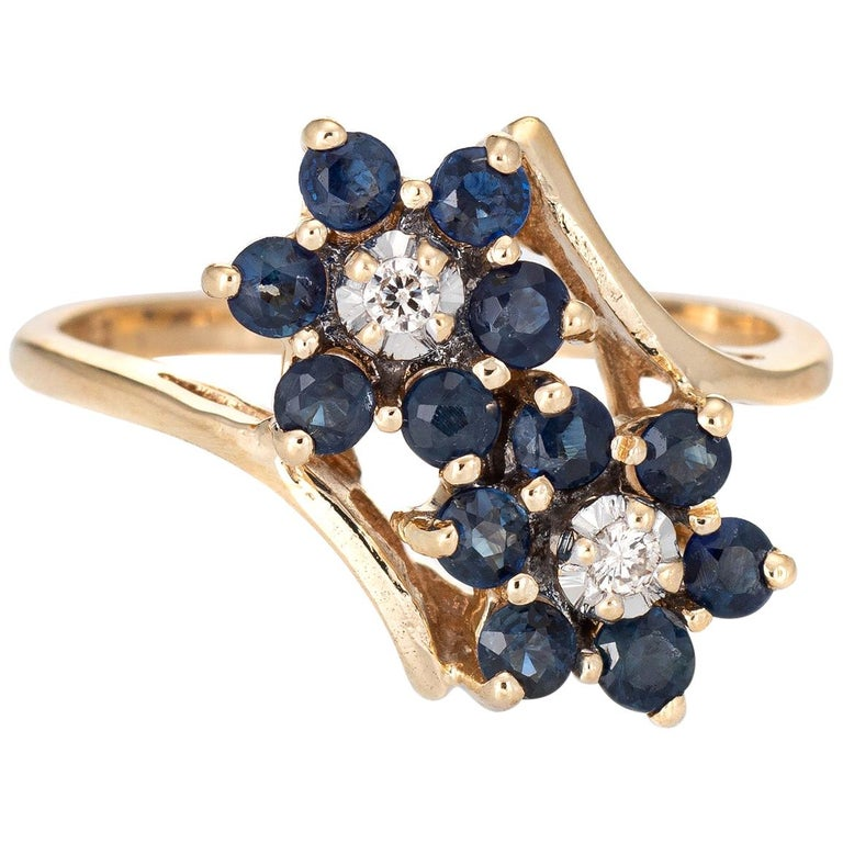 Sapphire Diamond Double Flower Ring Toi Et Moi 10 Karat Gold Vintage Jewelry For Sale