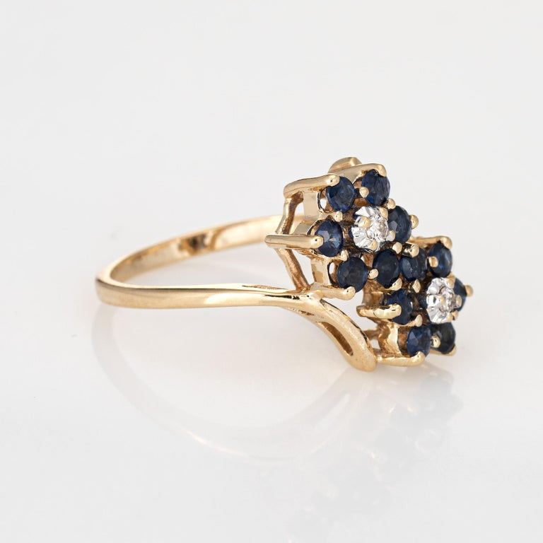 Modern Sapphire Diamond Double Flower Ring Toi Et Moi 10 Karat Gold Vintage Jewelry For Sale