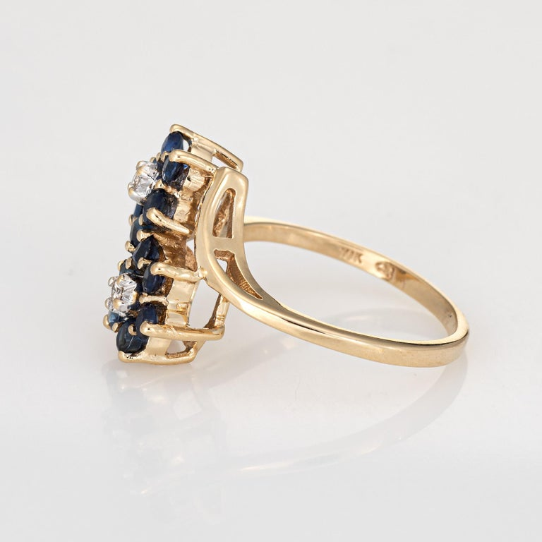 Round Cut Sapphire Diamond Double Flower Ring Toi Et Moi 10 Karat Gold Vintage Jewelry For Sale