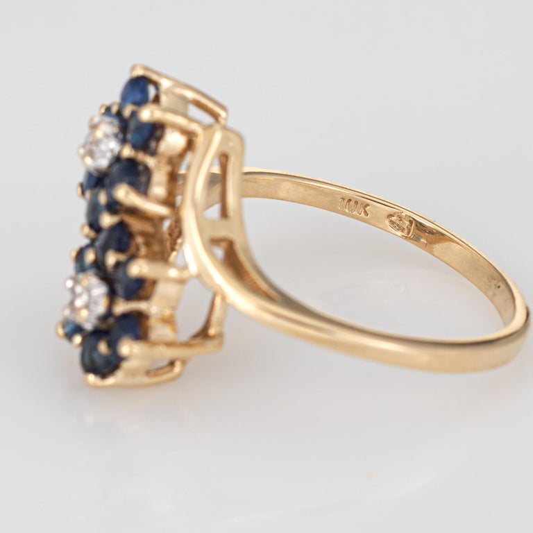 Sapphire Diamond Double Flower Ring Toi Et Moi 10 Karat Gold Vintage Jewelry For Sale 1