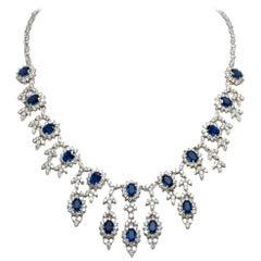 Sapphire Diamond Drop Necklace