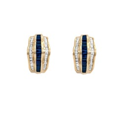 Sapphire Diamond Earrings 14 Karat Gold