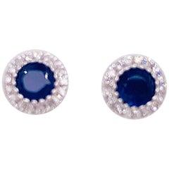 Sapphire Diamond Earrings, .7 Carat Blue, .11 Carat Diamond, Studs, White Gold