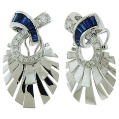 Sapphire Diamond Earrings in 18 Karat White Gold