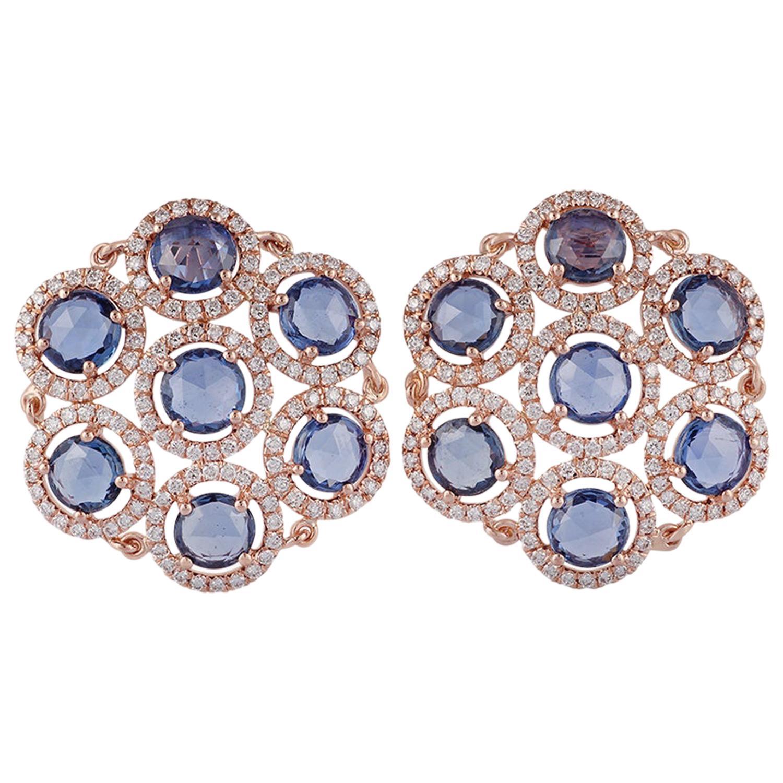 Sapphire and Diamond Earrings Studded in 18 Karat Rose Gold