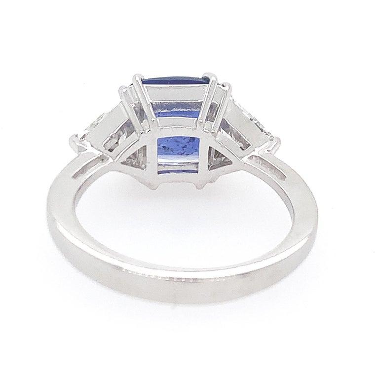 Antique Cushion Cut Sapphire Diamond Engagement Ring For Sale