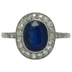 Sapphire Diamond Estate Engagement Ring Platinum Halo Edwardian Art Deco Revival