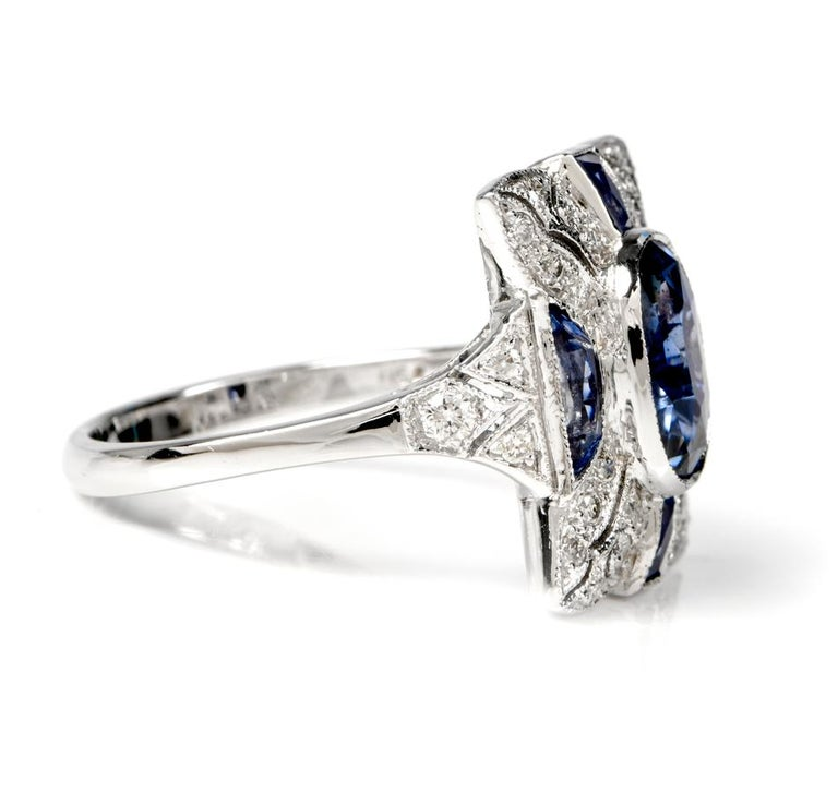 Art Deco Sapphire Diamond Filligree 18 Karat Gold Diamond Ring For Sale