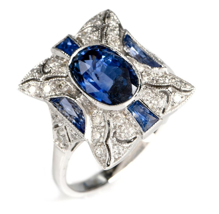 Sapphire Diamond Filligree 18 Karat Gold Diamond Ring For Sale 1
