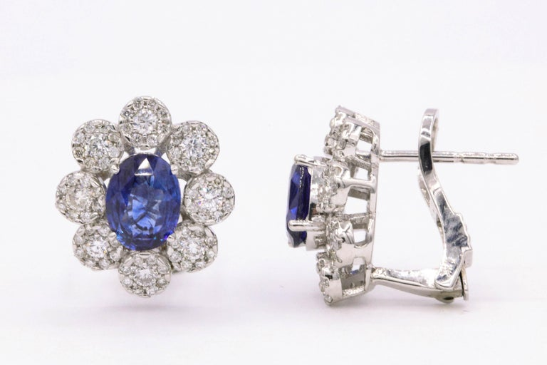 Contemporary Sapphire Diamond Floral Earrings 4.26 Carat For Sale
