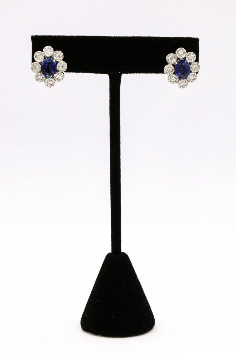 Oval Cut Sapphire Diamond Floral Earrings 4.26 Carat For Sale