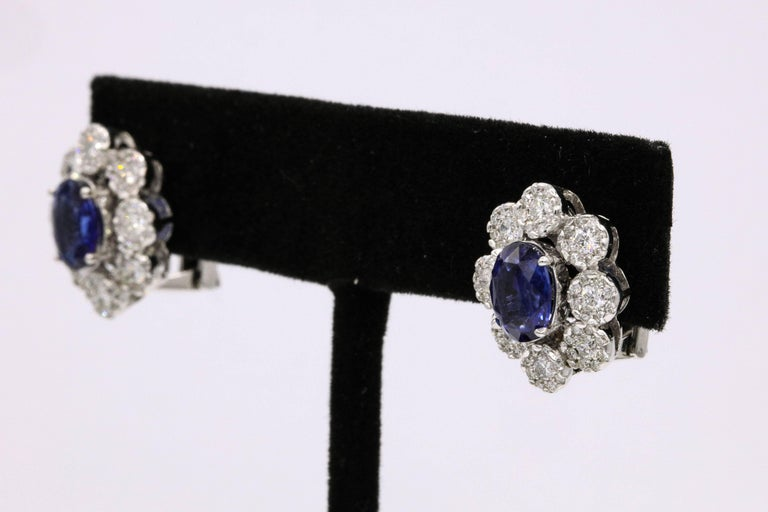 Sapphire Diamond Floral Earrings 4.26 Carat In New Condition For Sale In New York, NY
