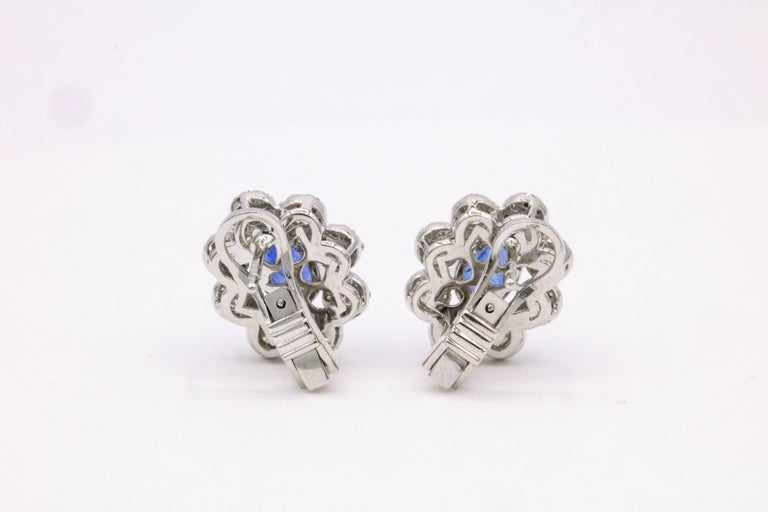 Women's Sapphire Diamond Floral Earrings 4.26 Carat For Sale