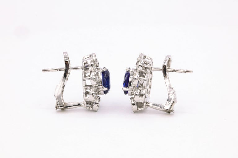 Sapphire Diamond Floral Earrings 4.26 Carat For Sale 1
