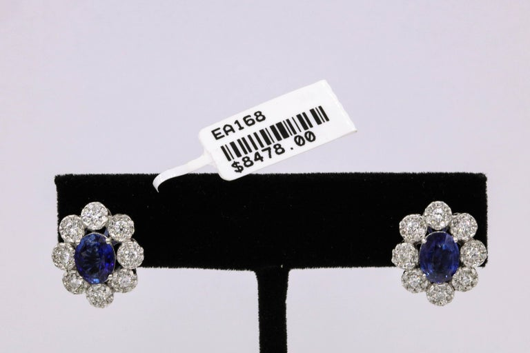 Sapphire Diamond Floral Earrings 4.26 Carat For Sale 2