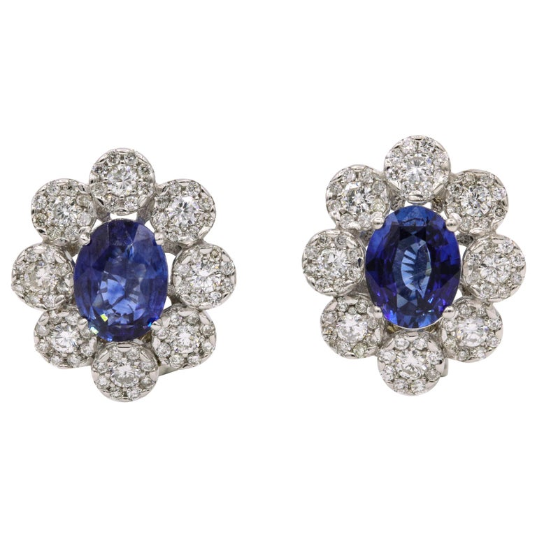 Sapphire Diamond Floral Earrings 4.26 Carat For Sale