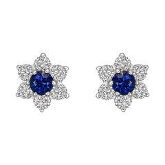 Sapphire & Diamond Flower Cluster Stud Earrings