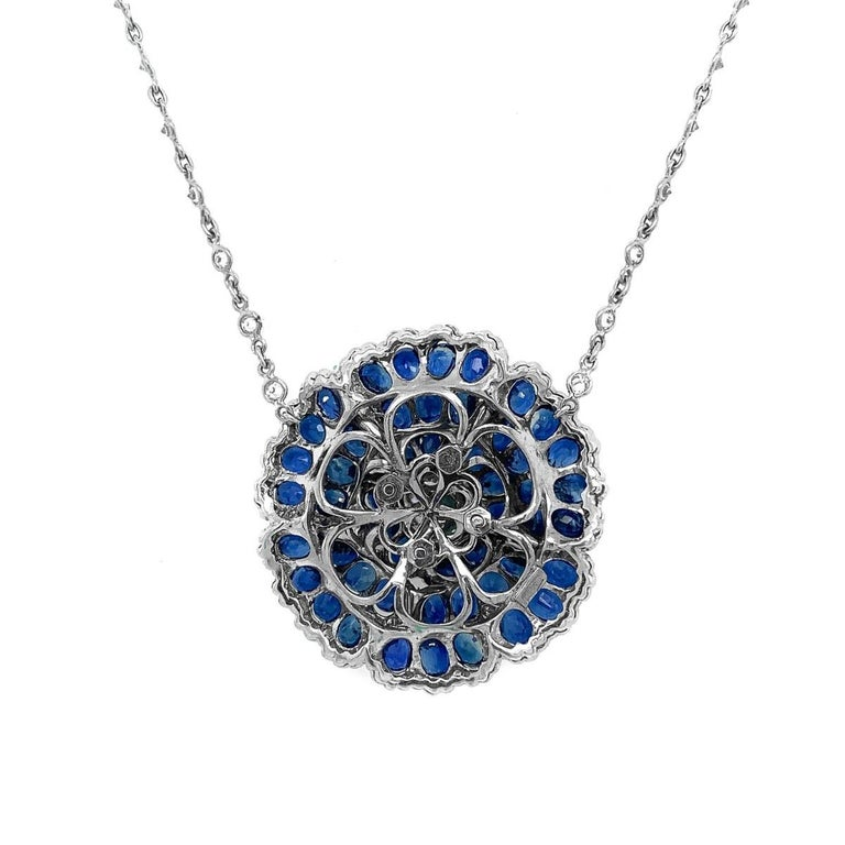 Sapphire Diamond Flower Necklace In Excellent Condition For Sale In New York, NY