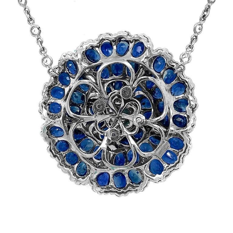 Women's Sapphire Diamond Flower Necklace For Sale